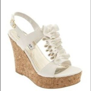 Steve Madden White Open Toe cork wedges